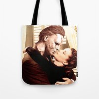 michael myers Tote Bags featuring Michael Myers as Clark Gable by Luigi Tarini