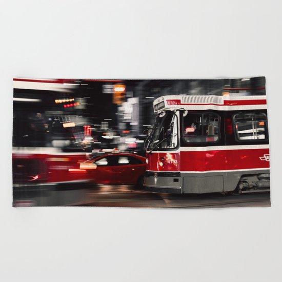 Red buses street Beach Towel