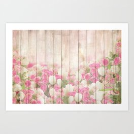 Beautiful Pink Tulip Floral Vintage Shabby Chic Art Print