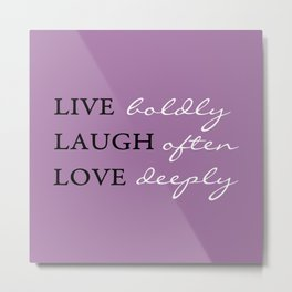 Live Laugh Love Quote Typography Metal Print