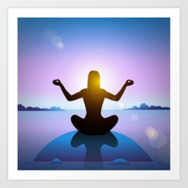 Yoga Studio Calming Purple / Blue Padmasana Pose Art Print