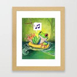 Lazy River Frog Framed Art Print