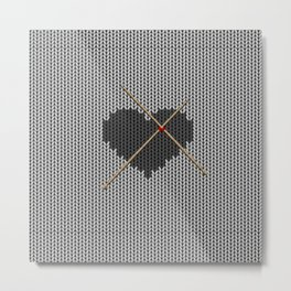 Original Knitted Heart Design Metal Print