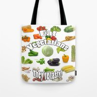 vegetarian Tote Bags featuring Eat A Vegetarian by PerfectImperfections