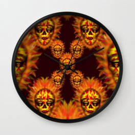 Flaming Skull 2 Wall Clock