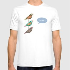 Fun Finches White SMALL Mens Fitted Tee
