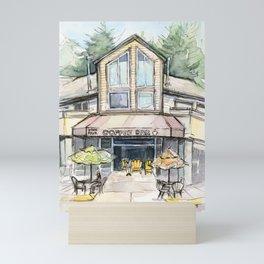 Coffee Shop Art Urban City Watercolor Mini Art Print