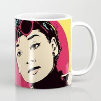 audrey Mugs featuring Audrey by Vee Ladwa
