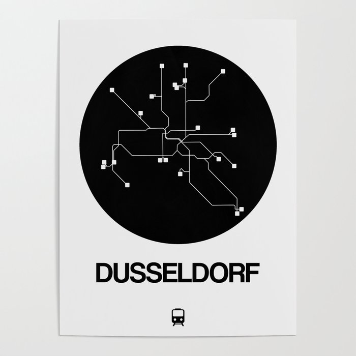 Dusseldorf Subway Map From Airport.Dusseldorf Black Subway Map Poster By Naxart