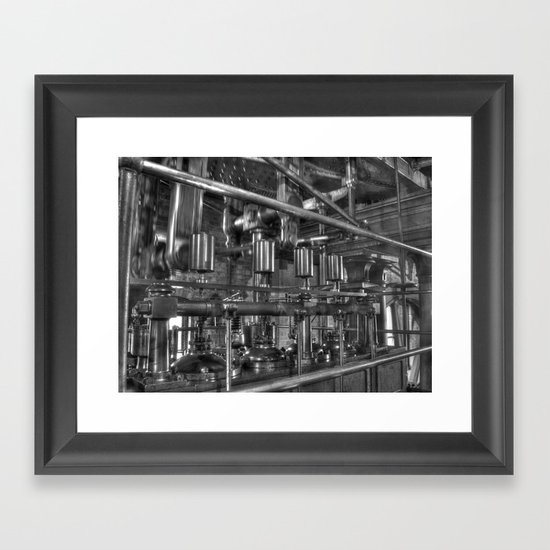 Steam valves in black and white Framed Art Print