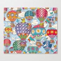 hot air balloon Canvas Prints featuring Hot Air Balloon by Helene Michau