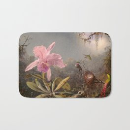 Martin Johnson Heade Cattleya Orchid and Three Hummingbirds 1871 Bath Mat