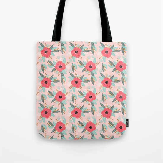 Poppies pink pastel red florals flowers pattern boho dorm college trendy garden plants poppy flower Tote Bag