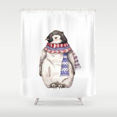 Baby Penguin in Red and Blue Scarf. Winter Season Shower Curtain