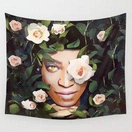Beautiful Fairy in the Roses Wall Tapestry