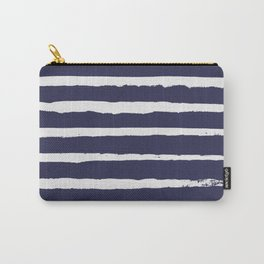 Irregular Hand Painted Stripes Dark Blue Carry-All Pouch