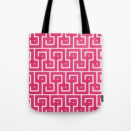 Greek Key - Pink Tote Bag