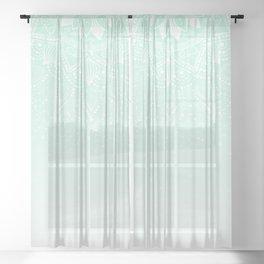 Elegant white and mint mandala confetti design Sheer Curtain