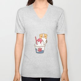 Guinea pig with kakigori Japanese shaved ice Unisex V-Neck