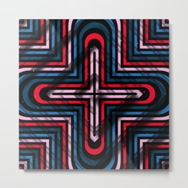 Rhombuses with cross (blue-red-black) Metal Print