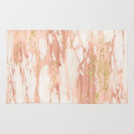 Rose Gold Marble - Rose Gold Yellow Gold Shimmery Metallic Marble Rug