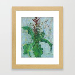 Burdock leaves and autumn herbs Framed Art Print