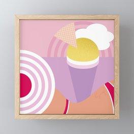 Beach girl and Ice cream rainbow by the sea Framed Mini Art Print