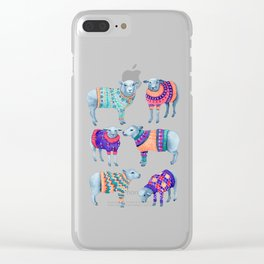 Sheep in Woolly Jumpers Clear iPhone Case