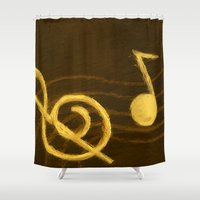 music notes Shower Curtains featuring Golden Umber Music Notes by Tina A Stoffel Arts