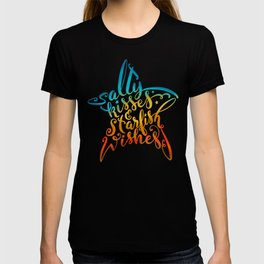 Salty Kisses & Starfish Wishes Beach Hand Lettering Design T-shirt