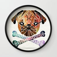 pug Wall Clocks featuring pug by Manoou