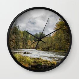 Fall on the McKenzie River Wall Clock