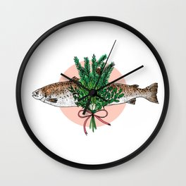Seafood Series : Pine and Salmon Fish Wall Clock