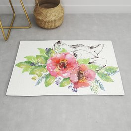 Watercolor Painting of Wolf and Flowers Rug