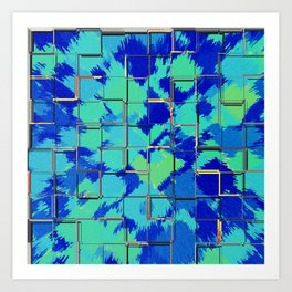 Abstract Squares Blue & Green Art Print