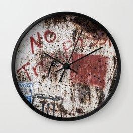 No Trespassin' in the Desert Wall Clock