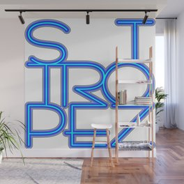 St. Tropez in blue neon Wall Mural