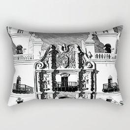 Mission San Xavier del Bac - Black and White Rectangular Pillow