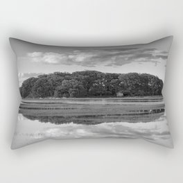 Annisquam river reflections Black and White Rectangular Pillow