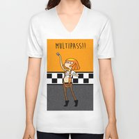 fifth element V-neck T-shirts featuring What Time is It? Fifth Element Time Multipass!  by maz layley