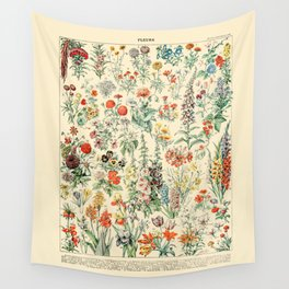 Wildflower Diagram // Fleurs II by Adolphe Millot 19th Century Science Textbook Artwork Wall Tapestry