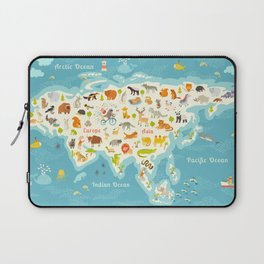 The most detailed animals world map, Eurasia. Also, birds, ocean life, reptiles, and mammals. Beauti Laptop Sleeve
