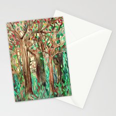 Walking through the Forest - watercolor painting collage Stationery Cards