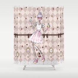 Pastel Cupcake Dessert Girl Shower Curtain