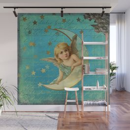 Vintage-Shabby-chic- Beautiful Christmas angel on aqua background Wall Mural