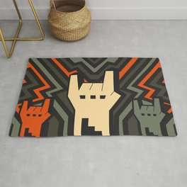 Grey Orange Rock Art Rug
