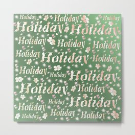 shiny font happy holidays in green rose Metal Print