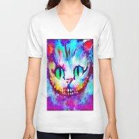 cheshire cat V-neck T-shirts featuring Cheshire Cat by Melanie Tassone Art