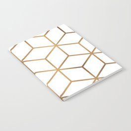 White and Gold - Geometric Cube Design Notebook