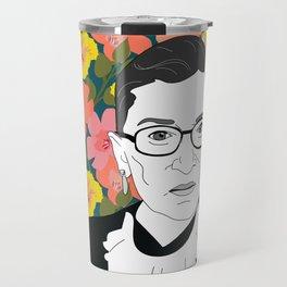 Ruth Bader Ginsburg Floral Travel Mug